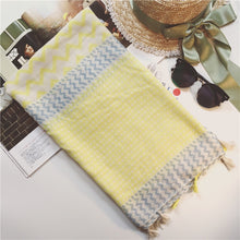 Lightweight summer Green Scarf Boutique yellow chevron print scarf.