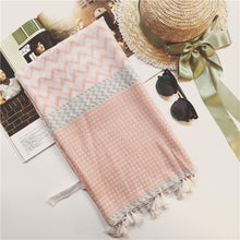 Lightweight summer Green Scarf Boutique pink chevron print scarf.