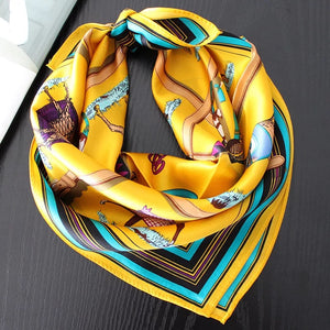 Green Scarf Boutique yellow equestrian print square bandanna scarf.