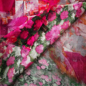 Vibrant pink floral print wool scarf.