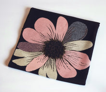 Green Scarf Boutique black scarf with pink and tan flower print.