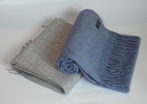 Green Scarf Boutique blue and grey wool scarves.