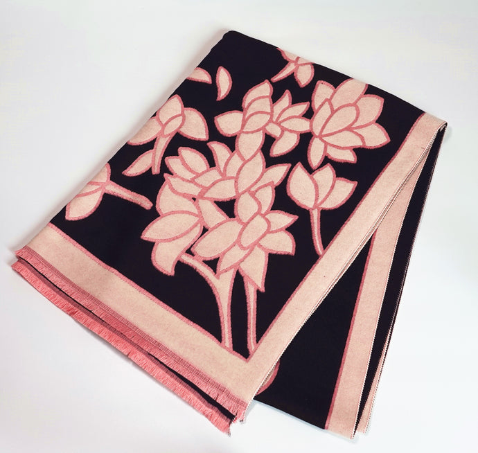Green Scarf Boutique black and pink scarf with floral print.