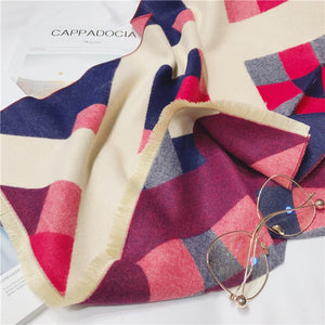 Pink and purple geometric print blanket scarf by Green Scarf Boutique.