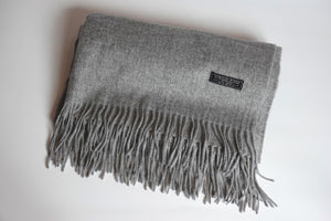 Green Scarf Boutique grey wool scarf.