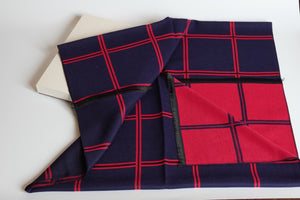 Green Scarf Boutique navy and red grid print blanket scarf.