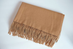 Green Scarf Boutique camel wool scarf.
