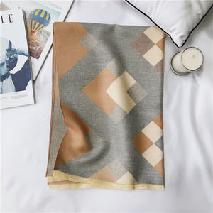 Tan and grey geometric print blanket scarf by Green Scarf Boutique.
