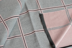 Green Scarf Boutique pink and grey grid print blanket scarf.