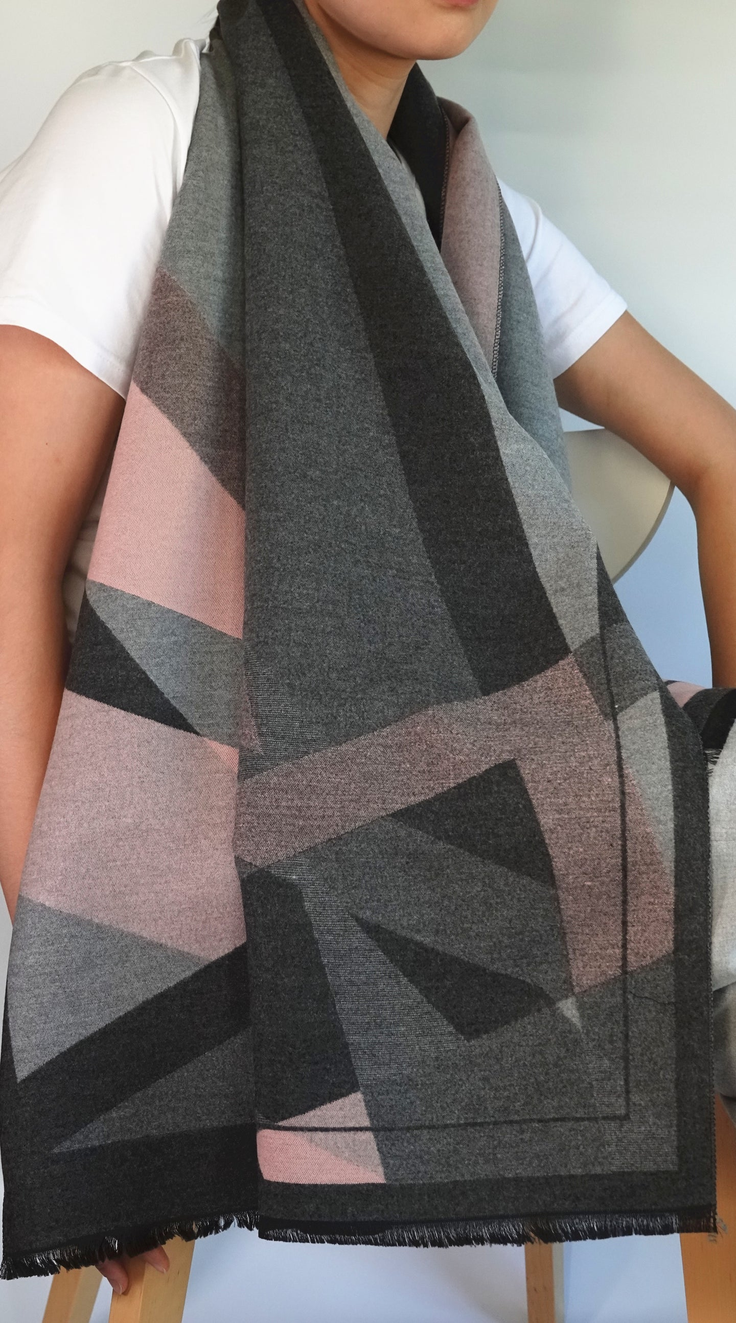 Pink and grey geometric blanket scarves by Green Scarf Boutique.