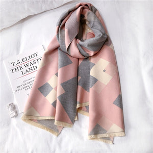 Pink and grey geometric print blanket scarf by Green Scarf Boutique.