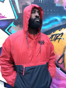 RED & BLACK HOODED WIND BREAKER