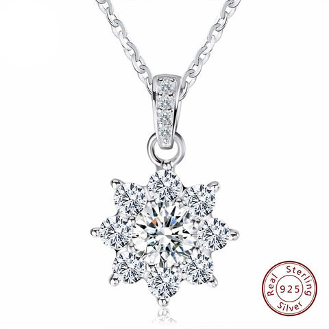 Silver Crystal Snowflake Pendant Necklace