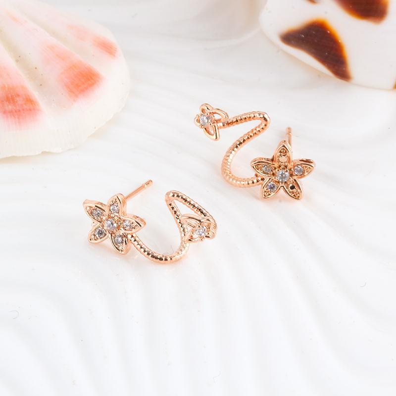 Climbing Crystal Flower Stud Earrings