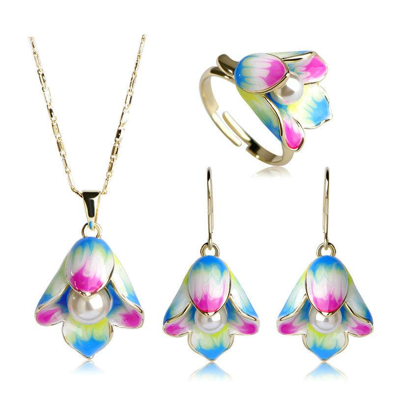 Vibrant Color Pearl Flower Jewelry Set