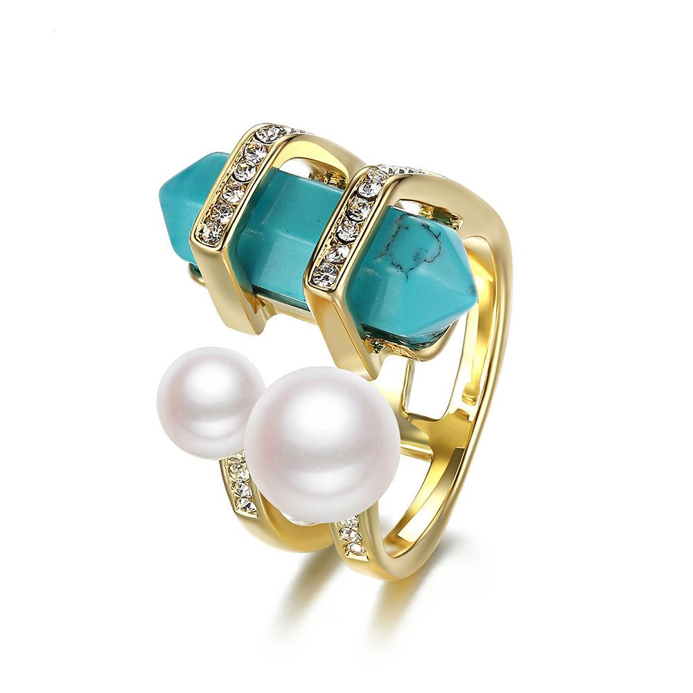 Pearl and Rhinestone Natural Stone Ring
