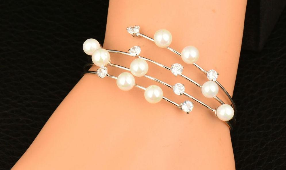 Simulated Crystal and Pearl Cuff Bracelet