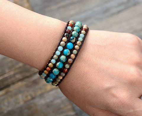 Unique Japser Leather Wrap Bracelets