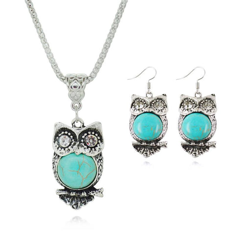 Owl Natural Stone Drop Pendant Jewelry Sets