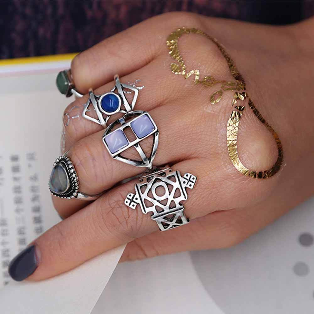 Silver and Stone Boho Ring Set