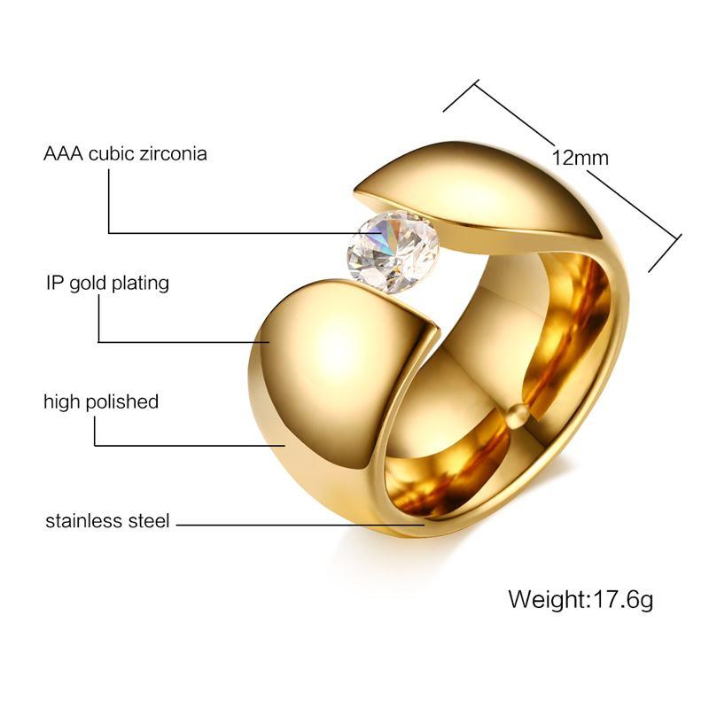 Luxury Solitaire Crystal Ring