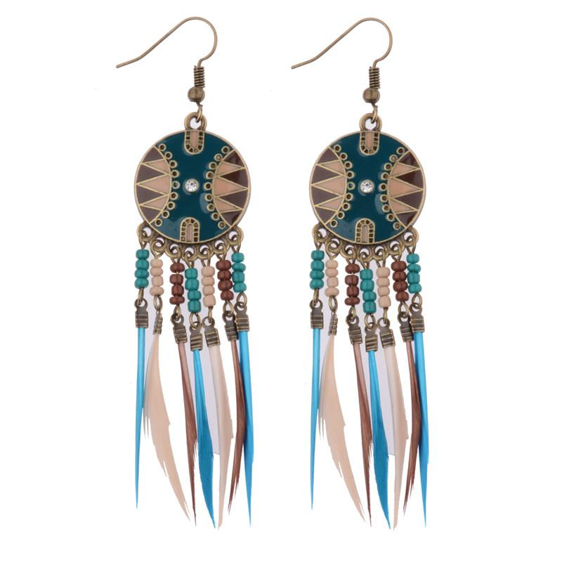 Bead and Feather Tassel Earrings
