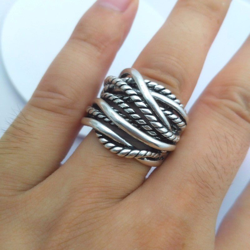 Edgy Stacked Ring in 925 Sterling Silver