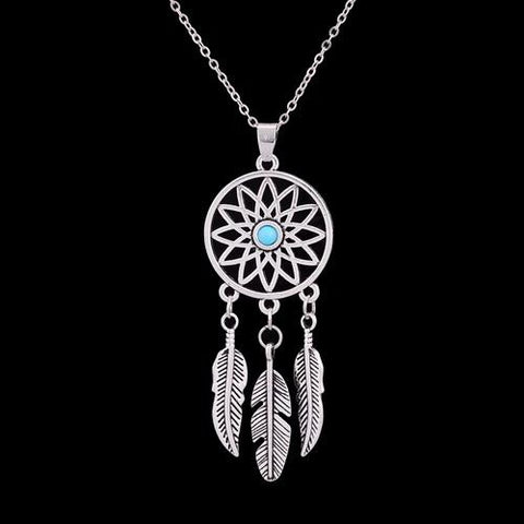 Dream Catcher Feather Bead Natural Stone Necklace