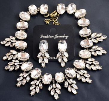 Sparkling Crystal Leaves Luxury Jewelry Ensemble