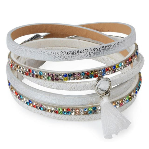 Candy Wide Crystal Leather Boho Bracelet