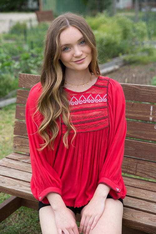 Coral Embroidered Babydoll Top - Willow House Boutique