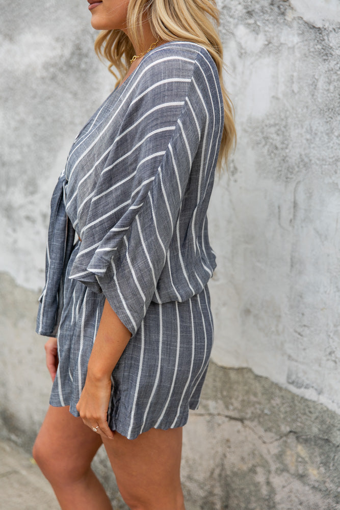 Wait For You Striped Romper