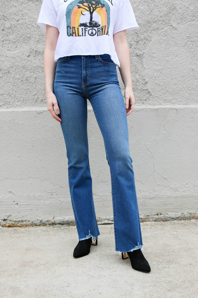 Hem Detailed Flare Jeans - Willow House Boutique