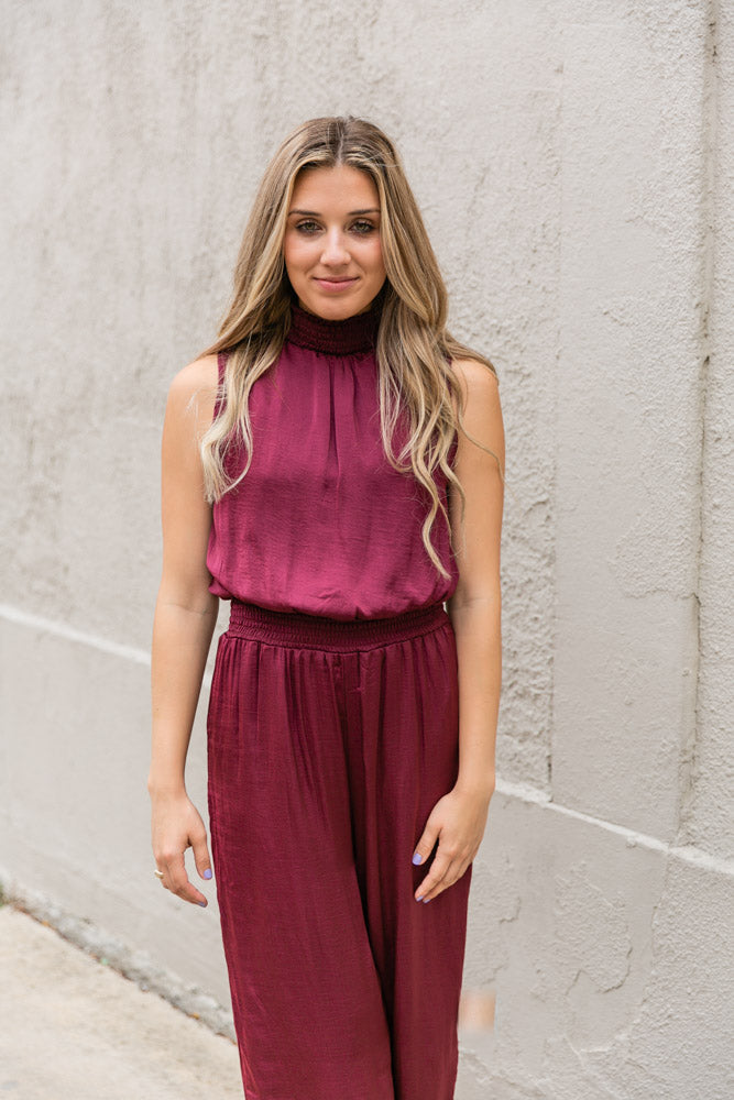 Carissa Satin Jumpsuit Sleeveless Wine - Willow House Boutique