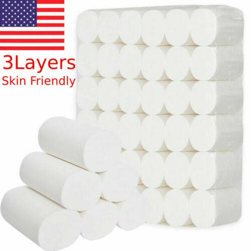 12 Rolls Toilet Paper Bulk Rolls Bath Tissue Soft 3 Ply Household SHIP FROM USA