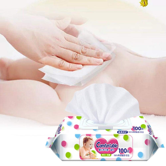 100PCS Unscented Baby Wipes Plant Extract Infant Wipes for Toddlers Body Cleaning Daily Care
