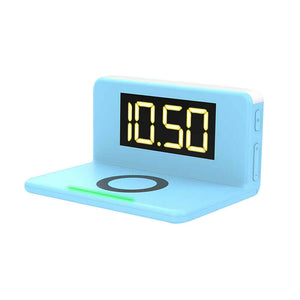 10W Fast Wireless Charging Digital Alarm Clock with Temperature light