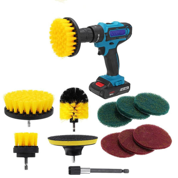 11Pcs Electric Drill Cleaning Brush with Sponge and Extend Attachment Tile Grout Power Scrubber Tub Cleaning Brush