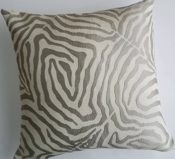 Silver Gray Zebra Jacquard Pillow