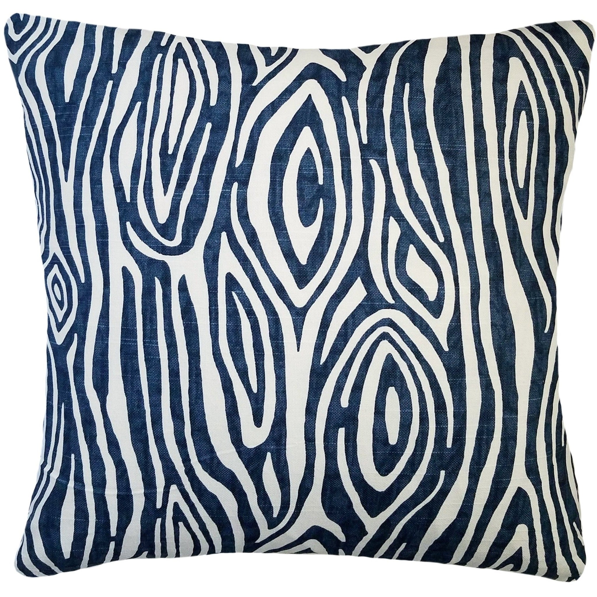 Navy Blue Wood Grain Pillow