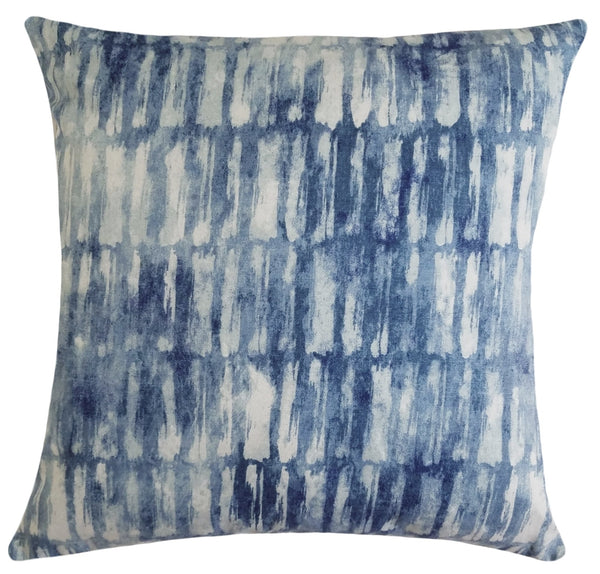 Watercolor Check Indigo Throw Pillow