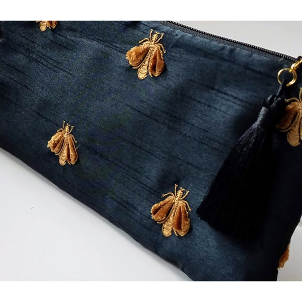Bees Black Dupioni Evening Clutch
