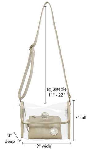 Clear Unity Bags - Crystal Clear Crossbody Bag. Clear Unity Bags are stadium & clear bag policy approved for PGA, NFL, concert venues and music festivals. Clear Unity Bags - clear bags with a mission to save lives. Proceeds support the I Can Stop The Bleeding Campaign. Clear bags with a purpose.