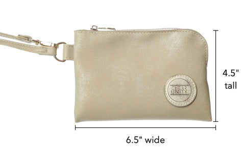 Clear Unity Bags - Wristlet Purse. Clear Unity Bags are stadium & clear bag policy approved for PGA, NFL, concert venues and music festivals. Clear Unity Bags - clear bags with a mission to save lives. Proceeds support the I Can Stop The Bleeding Campaign. Clear bags with a purpose.