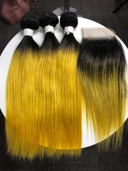 Cleopatra's Crown Hair Extensions virgin, Mongolian, 4x4 lace closure, in 1B/#613 ombre in straight texture.