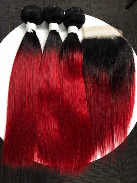 Cleopatra's Crown Hair Extensions virgin, Mongolian, 4x4 lace closure, in 1B/Red ombre in straight texture.