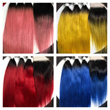 Cleopatra's Crown Hair Extensions virgin, Mongolian, 4x4 lace closures, in 1B/Blue, 1B/Red, 1B/Blush, 1B/Green & 1B/#613 ombre