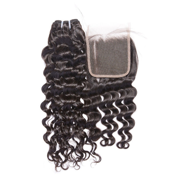 Virgin Italian Wave Mongolian 4x4 Lace Closure - Back