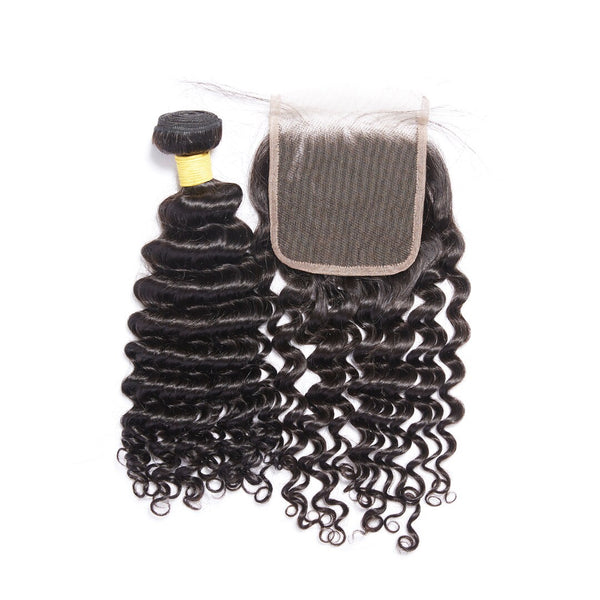 Virgin Deep Wave Mongolian 4x4 Lace Closure - Back