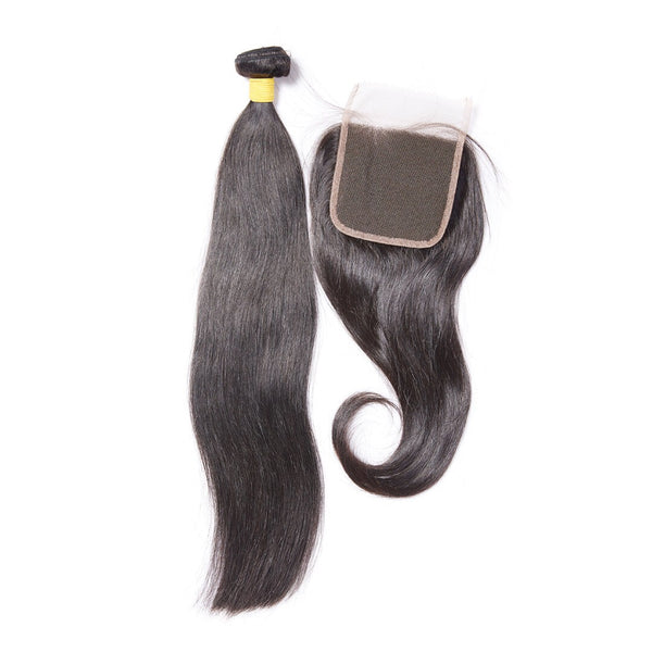 Virgin Straight Mongolian 4x4 Lace Closure - Back